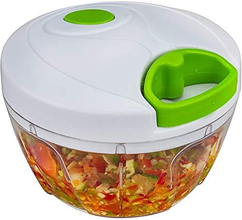 Picadora manual de alimentos con mango rápido para frutas y verduras, frutos secos, cebollas, picadora de ajo, picadora, batidora de alimentos, 3.5 cup