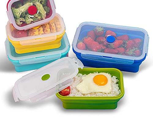 Jituan Fiambrera plegable de silicona, 4 unidades, caja de almuerzo para guardar el refrigerador, sellado por microondas, caja de comida plegable, caja de almuerzo retráctil
