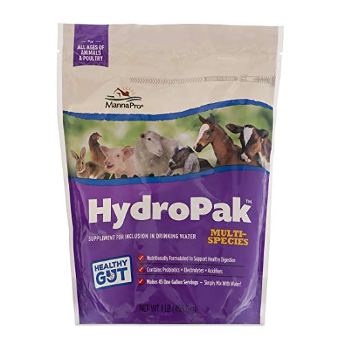 Manna Pro HydroPak Multi-Species Supplement for Inclusion in Drinking Water for Horses | Contains Probiotics and Electrolytes | Formulated to Help Support Healthy Digestion | 1lb