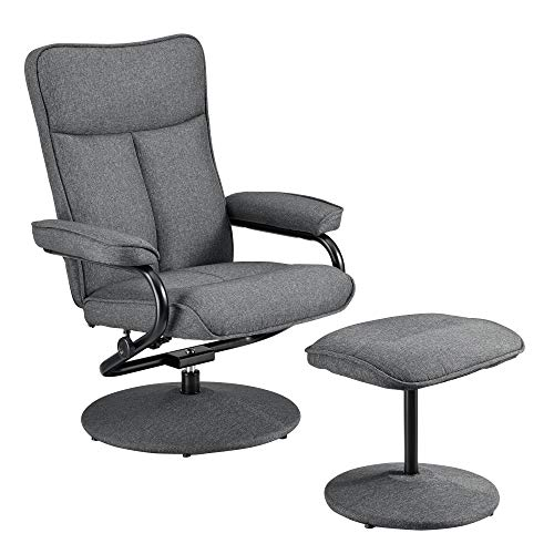 [en.casa] Relaxsessel mit Hocker Fernsehsessel inkl. Liegefunktion TV Sessel Stoffbezug grau