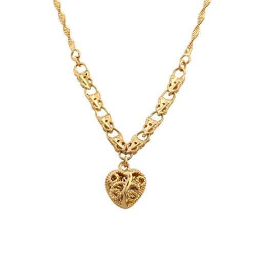 Styleziel dameshalsketting gouden ketting met klein filigraan hart als hanger 50cm 1623