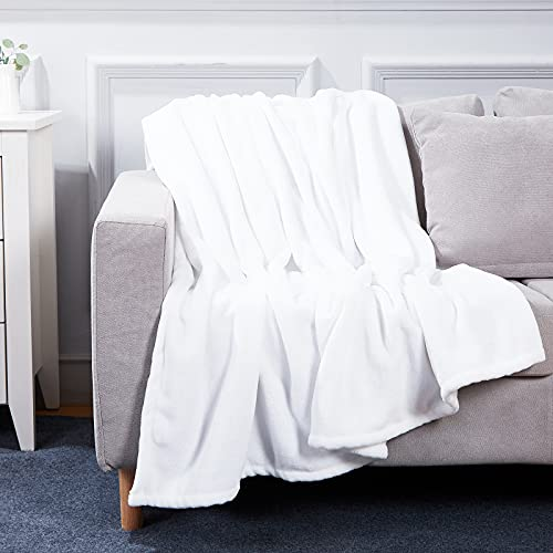 Bobor White Throw Blanket for Couch Bed, Flannel Fleece Decorative Throw, Fuzzy, Fluffy, Plush, Soft, Cozy, Warm Blankets