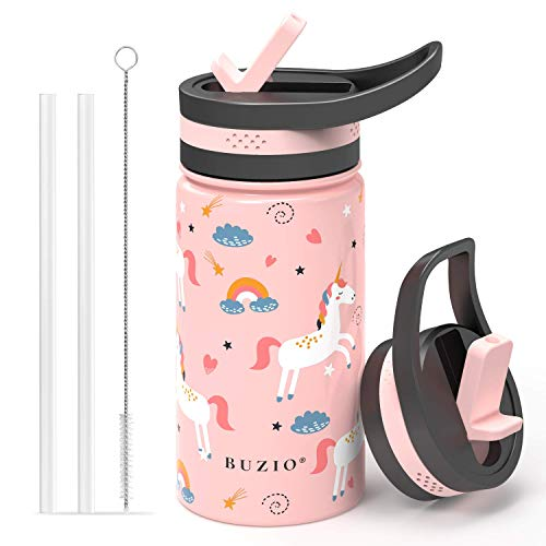 BUZIO Insulated Water Bottle for Kids, Modern Vacuum Insulated Hydro Bottle with 2 Straw Lids, 14oz Double Walled Wide Mouth Sports Drink Flask with Pink Unicorn Patterns, Simple Thermo Canteen Mug