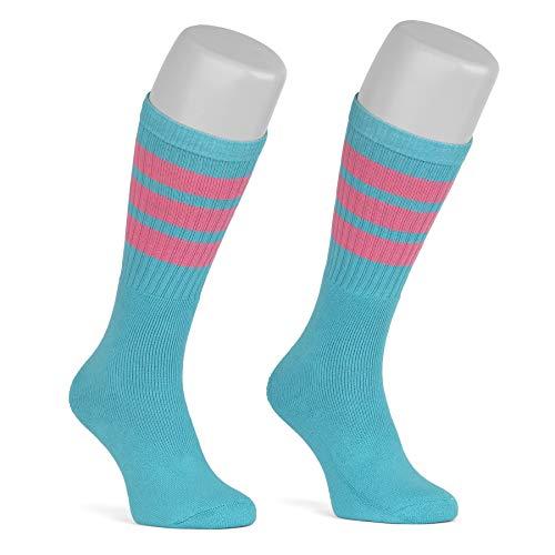 skatersocks 19 Inch gestreifte Socken Damen Kniestrümpfe Old School Tube Socks aqua - bubblegum pink gestreift