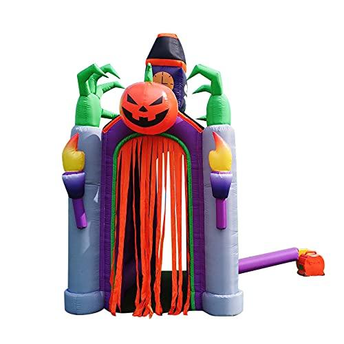 Casa embrujada Inflable de Terror de 4 m de Altura, Arco de Bienvenida Iluminado, decoración de Patio de Halloween para Vacaciones/Fiesta/Patio/jardín - sin Luces LED