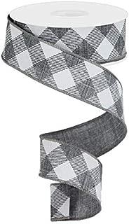 Diagonal Plaid Check Wired Edge Ribbon - 10 Yards (Grey, White, 1.5