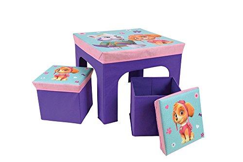 Fun House PAT'PATROUILLE Fille Table avec 2 Tabourets de Rangement Pliable pour Enfant, MDF/Intissé, 52 x 52 x 15 cm