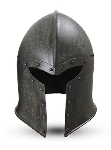 Epic Armoury Men's Barbuta Helmet Steel Metal W/Liner LARP Large Dark Steel