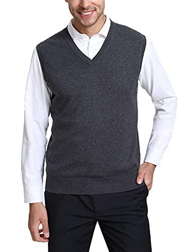 Kallspin męska mieszanka wełny kaszmirowej dekolt w serek dzianinowe Gilets zrelaksowane dopasowanie bez rękawów swetry kamizelka sweter