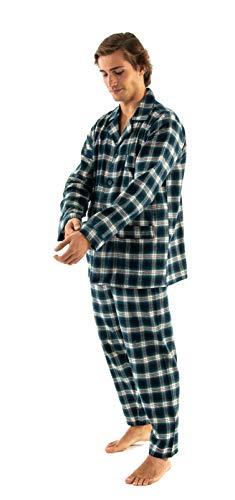 El Búho Nocturno - The Gentlemen's Choice | Herren Premium Schlafanzug für Winter | Herren Karierter Zweiteiliger Pyjama mit Langen Ärmeln - Flanellstoff, 100% Baumwolle - Größe M - Grün