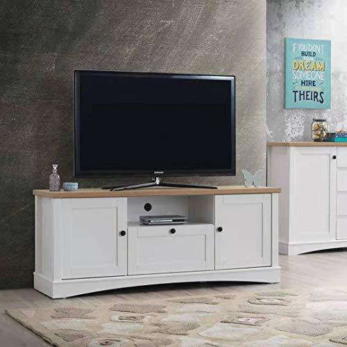 Timber Art Design UK Carden TV Unit Stand Media Cabinet 2 Doors + Drawer White & Oak