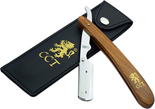 Cut Throat Straight Razor by The Cambridge Cutthroat® Missanda Wood Professional Barber Razor, Premium Quality Single Blade Straight Edge Razor, Moustache & Beard Shaper, Travel Pouch Included