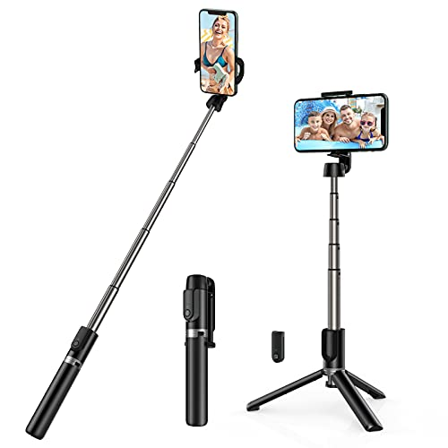Yoozon Selfie Stick Phone Tripod, All in One Extendable & Portable iPhone Tripod Selfie Stick with Wireless Remote, Compatible with iPhone 12 Pro Max/SE 2020/11/XS, Galaxy S21/Note 20/S10, Google etc