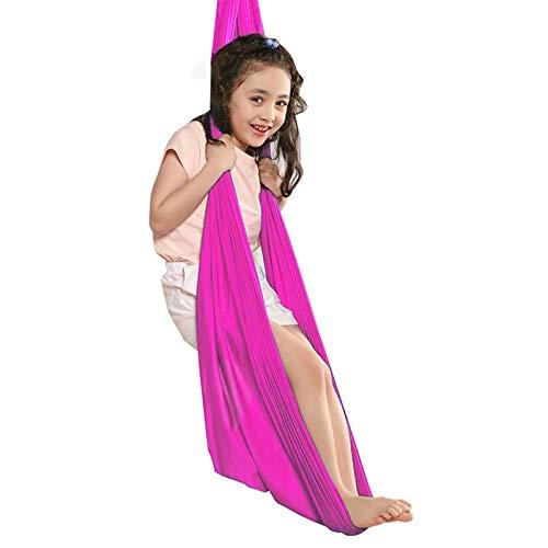 ZCXBHD Hamaca ajustable para terapia de abrazo, con capacidad de carga de 200 kg, columpio de yoga aéreo activo para integración sensorial (color: rojo rosa, tamaño: 150 x 280 cm)