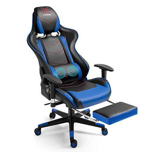 X-VOLSPORT Gaming Chair Office High Back Chair with Footrest, Racing Style PU Leather Ergonomic Computer Video Game Chair with Headrest and Lumbar Massage(Blue/Black)
