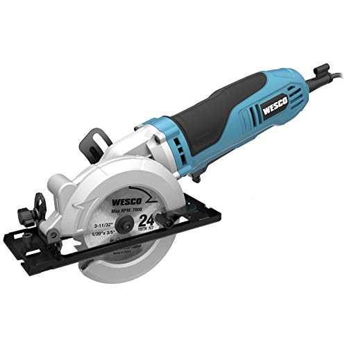 "Mini Circular Saw, WESCO 4-1/2"" 6.0A Compact Circular Saw 5200 RPM Max. Cutting Depth 1-11/16""(90°), 1-1/8""(45°)with 2 TCT Blades and 1 Diamond Blade /WS3454U"