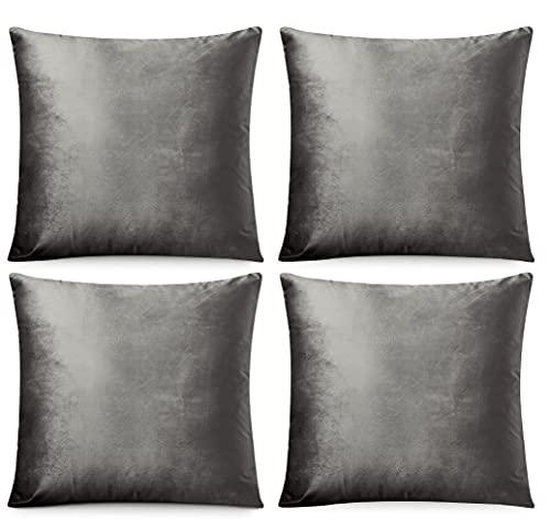 FARFALLAROSSA Juego de 4 fundas de cojín cuadradas de terciopelo con cremallera invisible reforzada, ideal para cojín de sofá, apto para cualquier estación, color liso, 45 x 45 cm