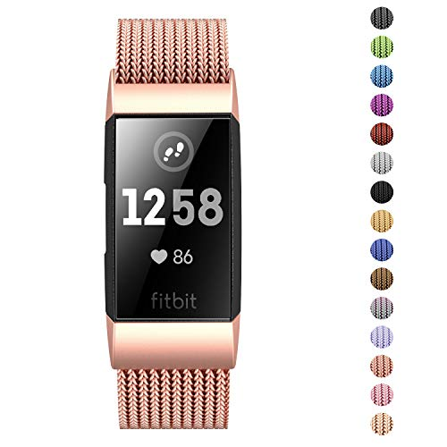 SWEES Fitbit Charge 3//3 SE Stainless Milanese Bands Small /& Large Many Colors