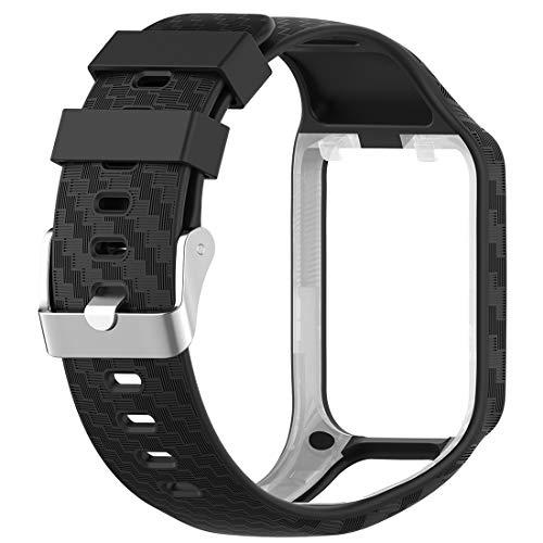 LOKEKE Replacement Silicone Wrist Strap Band for Tomtom Runner 2,Tomtom Adventurer,Tomtom Golfer 2,Tomtom Runner 3,Tomtom Spark,Tomtom Spark 3 (Silicone Black)