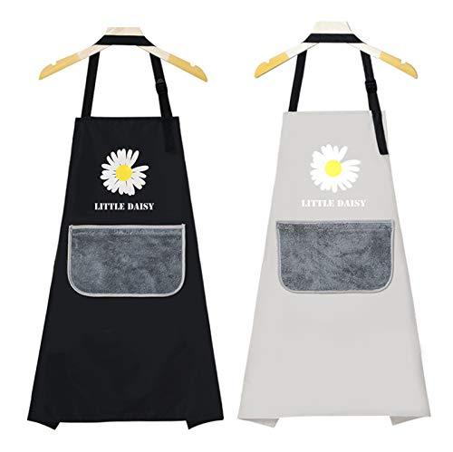 Delantal cocina mujer hombre impermeable, 2 piezas Delantal Cocina Negro/Gris, Delantal de...