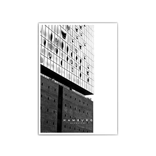 Hamburg Poster für dein Wohnzimmer – verschiede Größen & Designs – Hamburger Hafen   Elbphilharmonie   Nordliebe   Schwarz Weiß Bilder - ohne Rahmen (SW Elbphilharmonie)