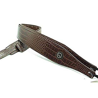 Dark Brown Alligator Skin Textured Guitar Strap