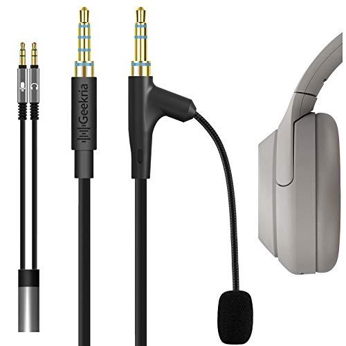 Geekria QuickFit - Cable Juego con micrófono para Auriculares Söny WH-1000XM4, WH-1000XM3, WH-XB900N, WH-CH710N, CH700N, H910N, Cable estéreo de Repuesto AUX de 3,5 mm con micrófono Pluma (5,6 pies)