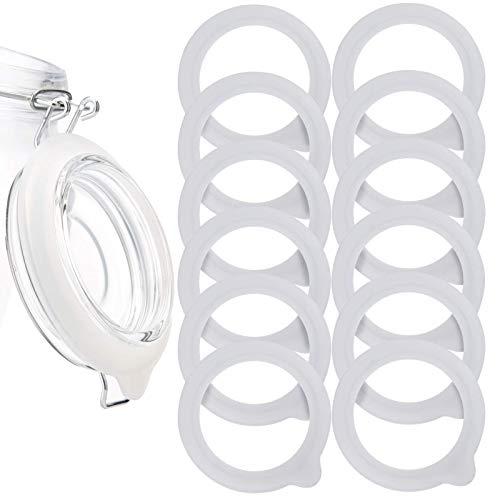 LUTER 12 Stück Silikon Glasdichtungen Ersatz, Auslaufsichere Silikon Dichtungen Luftdichte Dichtungsringe für Einmachglasdeckel, Normale Weithalsgläser
