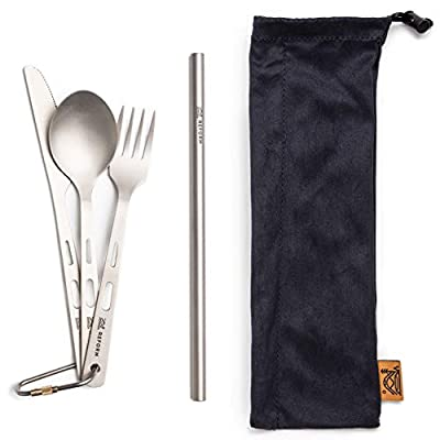 Titanium Reusable Utensils with Case - Fork, Spoon, Knife & Straw - Top Quality, Ultralight, Travel Utensil Set for Camping, Cooking & Backpacking