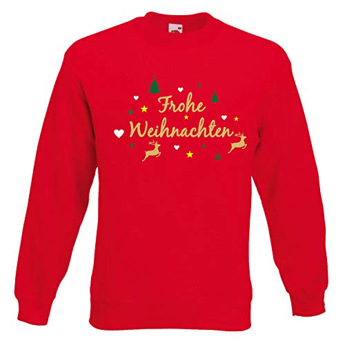 Shirt-Panda Herren Weihnachten Sweatshirt · Frohe Weihnachten Rentier · Christmas Sweater · Pullover für Heiligabend un Adventszeit · Unisex Weihnachtspulli · Rot 4XL