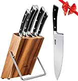 Aicok Knife Set, Professional 6-Piece Kitchen Knife Set with Wooden Block, Germany High