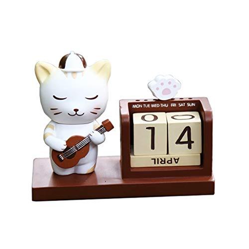 ZNZN Calendario de Escritorio Mini Calendario De Escritorio Elefante Bebé Calendario Perpetuo Lindo Calendario De Animales para Niños Regalos Calendarios (Color : Cat)