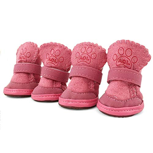 URBEST Dog Boots, Dog Cat Warm Booties for Winter for Hot Pavement, Dog Shoes for Small Dogs (3#, Pink)