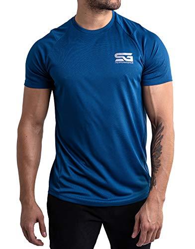 Satire Gym - Camiseta Deportiva Ajustada para Hombre/Camiseta Deportiva Estrecha y de Secado rápido, Camiseta Transpirable/Apta como Camiseta de Fitness y Culturismo.(Azul, S)