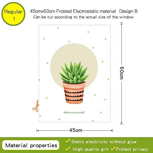 YSHUO raamsticker Cactus Succulent Potted Glass Film transparant ondoorzichtig voor raamdecoratie badkamer glazen deur Diy