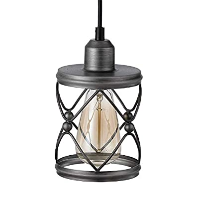 Adcssynd Industrial Metal Cage Ceiling Pendant Light Rustic Mini Pendant Lighting Fixture for Farmhouse Porch Kitchen Bathroom etc (Silver Brushed)