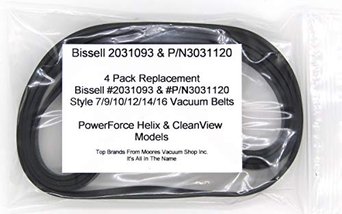 Bissell PowerForce Helix & CleanView #2031093, P/N3031120 & #32074 Style 7/9/10/12/14/16 Replacement Vacuum Belts 4 Pack