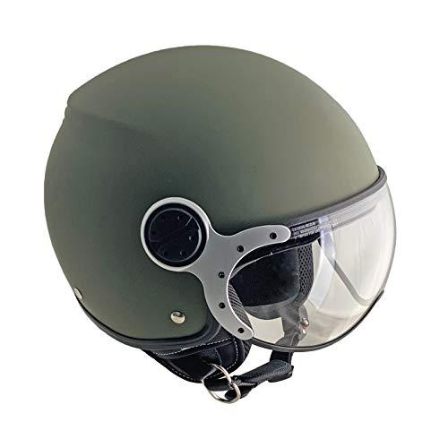 SKA-P Casco demi jet, 1LS METROPOLI ELI, Verde opaco visiera Argento, M (57cm)