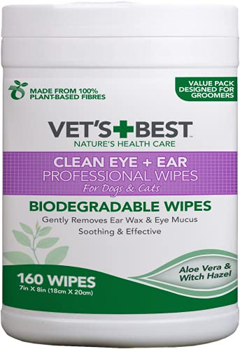Vet's Best Limpiar Ojos & Orejas Toallitas Profesionales para Perros Y Gatos - 160 Toallitas
