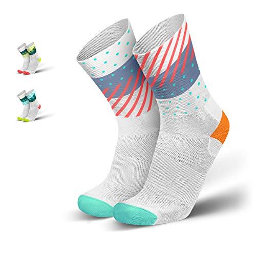 INCYLENCE Wildness Sportsocken lang, leichte Running Socks, atmungsaktive Funktionssocken mit Anti-Blasen Schutz, Socken, weiß, mint, neon-rot, 39-42