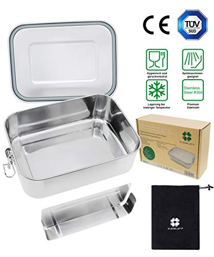 KLEEBLATT® Brotdose aus Edelstahl 800 ml Lunchbox aus Metall mit flexiblen Fächern und Bügelverschluss, Dichtung auslaufsicher - für Kinder und Erwachsene plastikfrei BPA-frei Lebensmittel-echt (TÜV)