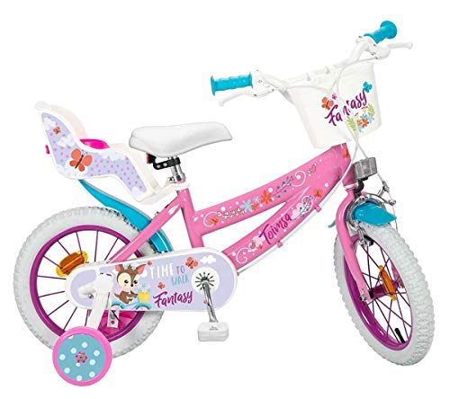 Fantasy Walk Kinderfahrrad Mädchenfahrrad 14 Zoll rosa/weiß mit Felgenbremse, Trommelbremse, Korb und Puppensitz