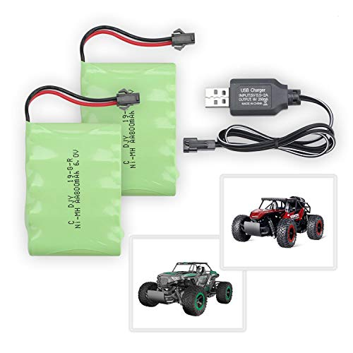 BEZGAR 2 Packs 6.0V 800mAH Rechargeable NiMH Batteries with SM-2P Plug and USB Charger Cable for Remote Control Car Rc Truck Vehicle
