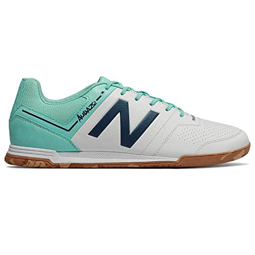 New Balance Audazo Strike 3.0 Futsal, Zapatilla de fútbol Sala, White-Light Blue, Talla 8 USA (41 1/2 EUR)