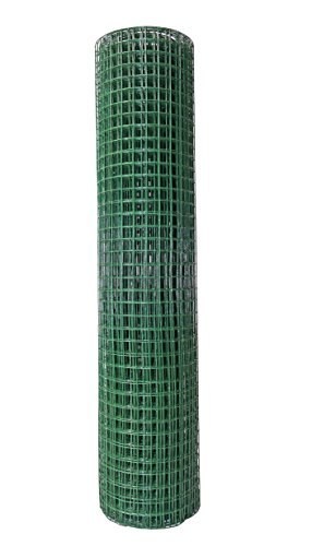 BigDean Volierendraht Grün 0,5x5m Kunststoff Ummantelt Maschenweite 12,7x12,7mm Drahtstärke 0,9mm Drahtgitter Maschendraht Zaun