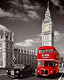 Poster, Motiv: London England Big Ben und roter Bus, 40,6 x