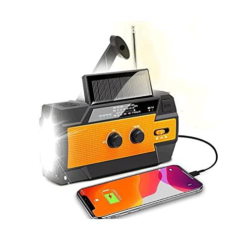 Sdesign Radio Solar de Viento, Cargador de teléfono de manivela de Mano con Linterna LED, Banco de energía de 4000mAh y Alarma SOS por Runningsnail | Uso de Emergencia para Acampar, Senderismo