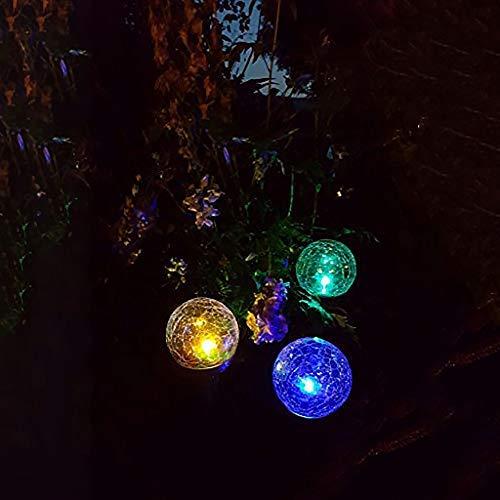 Dapo® 3x LED-Solar-Außen-Garten-Kugel-Leuchte-Lampe ENA mit wechselnden Lichtfarben Glaskugel in Bruchglas Optik IP44