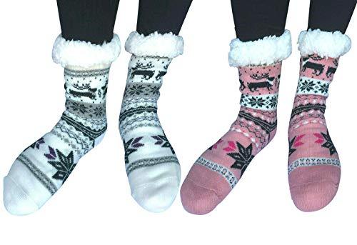 Women Winter Thermal Sherpa Lined Knit Slipper Socks Non Slip Indoor Home Socks (Snowflake&Reindeer (White+Light Pink))