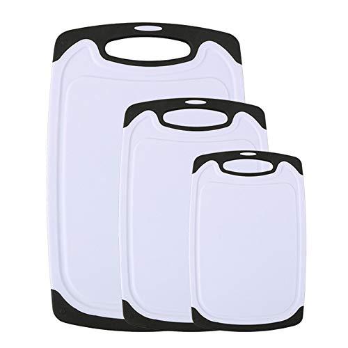Vicloon Tagliere Rettangolare, Tagliere Plastica con Scanalatura,Materiale PP per Alimenti,Resistente al Calore Antimicrobico e Non Tossico (Set di 3) …